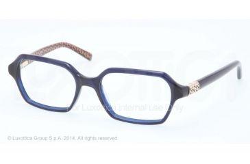 Tory Burch TY2043 Progressive Prescription Eyeglasses 1304-50 - Navy W T Print Frame