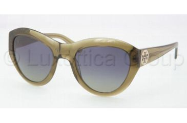 Tory Burch TY7037 Sunglasses 666/37-5522 - Olive Blue Frame, Green Polarized Lenses
