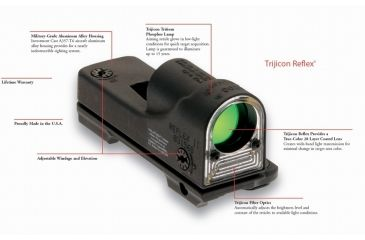 2-Trijicon RX01-17 Reflex 6.5 MOA Amber Dot Sight with H&K Mount