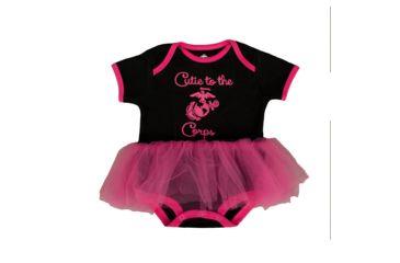 04c9679e5 Trooper Clothing Marine Tutu Cutie to the Corps Bodysuit - Girls, Black/Pink ,