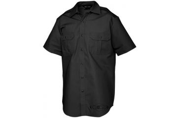 Tru-Spec Tact Dress Shirt, TRU Black P/C R/S Short Sleeve, Large Reg. 1014005