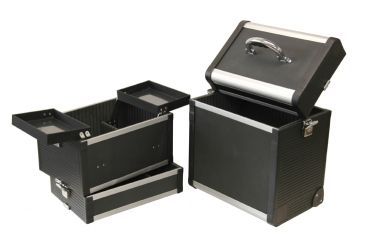 Tz Case Abm 301t Bd Large Pro Beauty Case Black 3 Sections W Wheels Pull Handle Open
