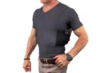 UnderTech Undercover Mens Concealment Holster V-Neck Coolux Shirt,Grey,2XL T1275GR-2X