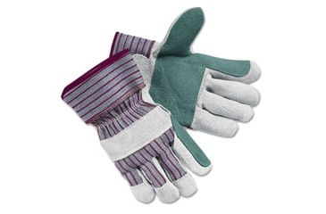 United Stationers Gloves Lthr Dbl Plm Lg Gy CRW1211L, Unit PR