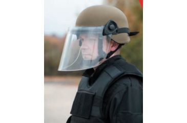 United Shield Command Ballistic Helmet Level IIIA w/ 4pt Harness System and Retrofit Face Shield, Tan, XL COMMANDO SC650-RFFS-TN-XL