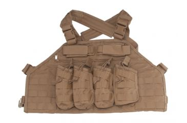 US Palm AK Attack Rack V2 AK47 Four Mag Chest Rig With Armor Pocket Coyote Tan