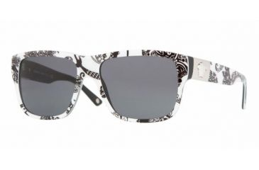 61d01ff8cb96 Versace VE 4192 Sunglasses Styles Baroque Black White Black Frame   Gray  Lenses