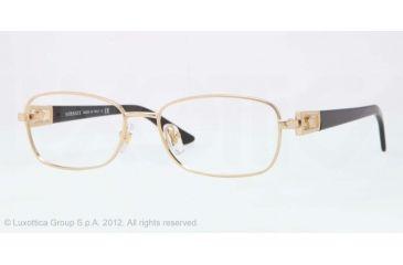 Versace VE1216B Eyeglass Frames 1002-52 - Gold Frame, Demo Lens Lenses