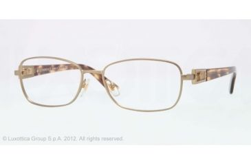 Versace VE1216B Eyeglass Frames 1325-52 - Matte Brass Frame, Demo Lens Lenses