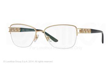 Versace VE1220B Single Vision Prescription Eyeglasses 1002-52 - Gold Frame
