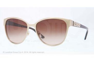 Versace VE2147B Sunglasses 133913-56 - Brushed Pale Gold Frame, Brown Gradient Lenses