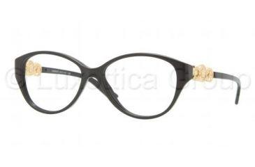 Versace VE3161 Single Vision Prescription Eyeglasses GB1-5315 - Shiny Black Frame