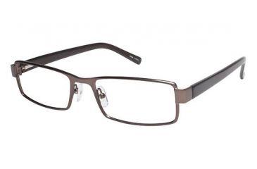 Visions 197 Single Vision Prescription Eyeglasses - Frame Matte Brown/ Translucent Brown, Size 54/18mm VIVISION19702
