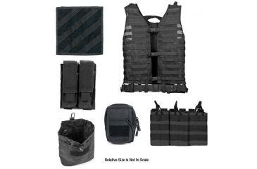 Zombie Rezurrection Kit, Black - with Vest, MOLLE Panel, 4 Pouches