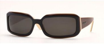 Vogue VO2444S-128087-6117 Sunglasses Black-cream-brown Frame / 61 mm Gray Lenses
