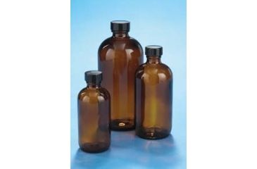 VWR Boston Round Bottles, Amber, Narrow Mouth VW5121628V26 Convenience Packs With Caps Attached