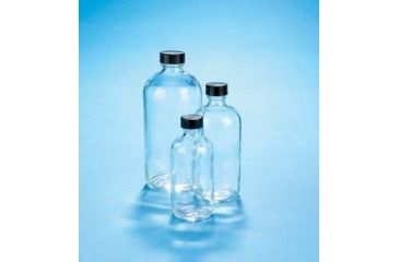 VWR Boston Round Bottles, Clear, Narrow Mouth VW5110120V21 Convenience Packs With Caps Attached
