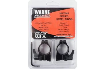 Warne 1in Ruger Blackhawk/Redhawk Quick Detach Riflescope Rings, Medium, Gloss 1RLG