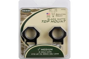Weaver 1in Four Hole Skeleton Riflescope Rings, Med, Matte Black 48360