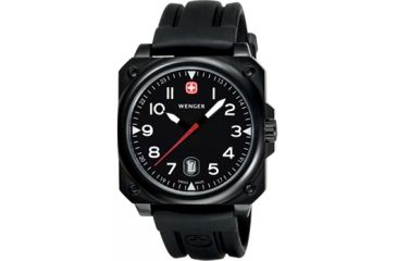 Wenger AeroGraph Cockpit Mens PVD Black Case Black Rectangle Dial Black Strap 72424