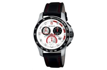 Wenger Mens Battalion Field Chrono Watch - Silver Dial Black Leather Strap 70791