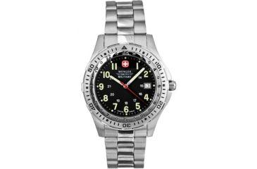 Wenger Battalion Pilot Mens Swiss Military Watch - Black Dial w/ Bracelet 72198
