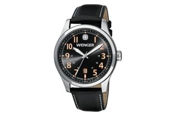 Wenger Grey Dial Black Leather Strap 541104