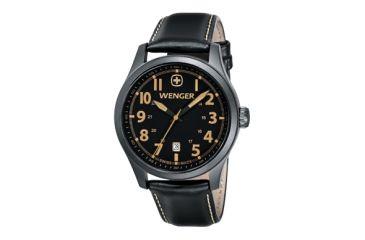 Wenger Gunmetal Pvd Case Black Dial Black Leather Strap 541105
