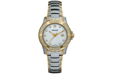 Wenger Ladies Sport Swiss Watch w/ white dial, crystal markers and bezel bi colored bracelet 70376