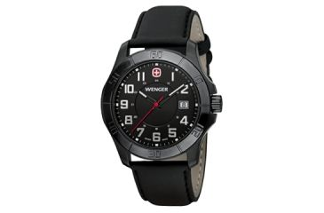 Wenger Mens Alpine Sport Watch w/ black PVD case black dial black Leather strap 70475
