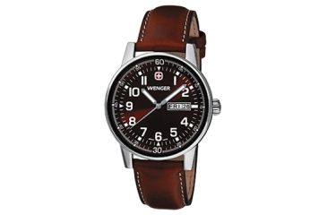 Wenger Mens Commando Day Date XL Swiss Watch w/ Brown dial brown Leather strap 70162
