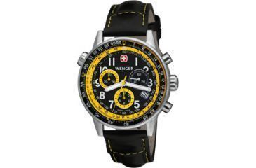 Wenger 70872 CommandoSR Mens Black and Yellow Dial w/ Black Leather Strap
