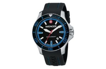 Wenger Mens Sea Force Swiss Watch w/ Black & Blue dial black & Blue Bezel Black Silicone Strap 641.104
