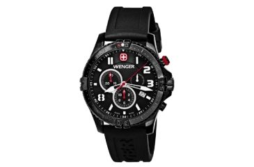Wenger Mens Squadron Chrono Swiss Watch w/ PVD case/black dial/white numerals/black strap 77053