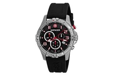 Wenger Mens Squadron Chrono Swiss Watch w/ Black Dial/black silicone strap 77055