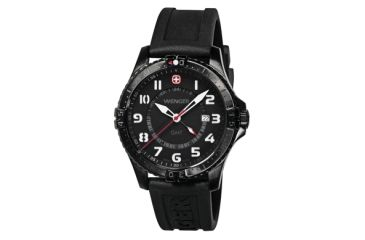 Wenger Mens Squadron GMT Swiss Watch w/ PVD case black dial wite numerals, black silicone strap 77073