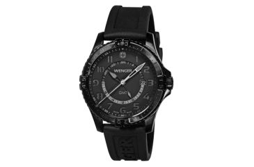 Wenger Mens Squadron GMT Swiss Watch w/ PVD case black dial, black silicone strap 77074