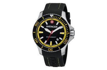 Wenger Sea Force Black & Yellow Dial Black & Yellow Bezel Black Silicone Strap 641101