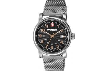 Wenger Urban Classic Black Sunray Textured Dial, Stainless Steel Mesh Bracelet 1041.106