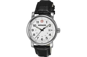 Wenger Urban Classic Silver Sunray Textured Dial, Black Leather Strap 1041.102