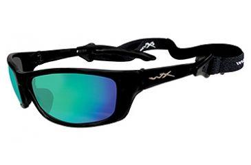 Wiley X P-17 Sunglasses - Emerald Mirror (Polarized Amber)Lens / Gloss Black P-17GM