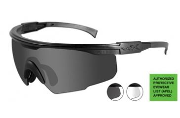 Wiley-X PT-1 Sunglasses - 3 Lens Package - Smoke Grey, Clear, Light Rust Matte Black Frame PT-1SCLRX