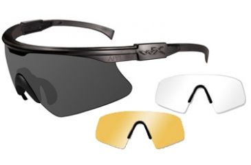Wiley-X PT-1 Tactical Eyeshield - Matte Black w/ Smoke, Clear, Rust lenses PT-1-SCL