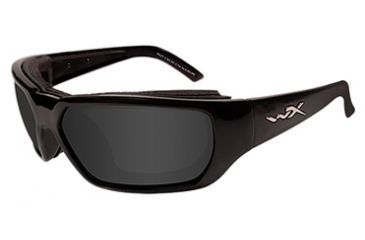Wiley X Rout Motorcycle Sunglasses - Gloss Black Frame, Smoke Gray lenses
