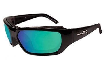 Wiley X Rout Fishing Sunglasses - Gloss Black Frame, Emerald Green Polarized lenses