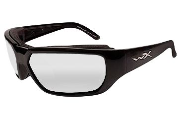 Wiley-X Rout Sunglasses - Clear Lens / Gloss Black Frame CCROU03