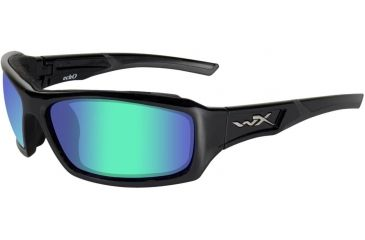 Wiley X Echo - Polarized Emerald Mirror/Amber Tint Lens w/Gloss Blk Frame CCECH04