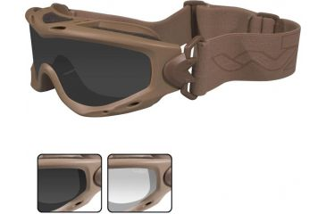 Wiley X Spear Goggles - Smoke Gray + Clear Lenses w/ Tan Frame Sp29t