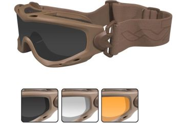 Wiley X Spear Goggles - Smoke Gray, Clear, Light Rust Lenses w/Tan Frame SP293T