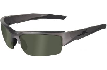 Wiley X Valor Sunglasses - Polarized Smoke Green Lens/Metallic Silver Frame CHVAL04